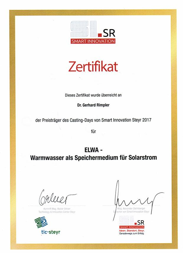 Zertifikat SmartInnovation ELWA